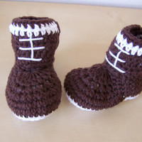 baby boy clothing, baby boy boots, crochet football booties