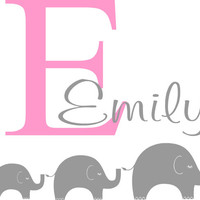 Children's Vinyl Wall Decal- Personalized Name Initial with 3 Elephants-Wall Quotes- Decals-Words for the Wall Monogram Personalized