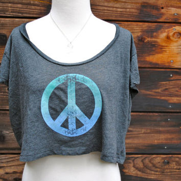 Ombre Fade Blue Green PEACE Crop Top