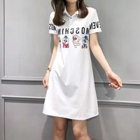 """Moschino"" Fashion Casual Cute Cartoon Bear Letter Print Short Sleeve Lapel T-shirt Polo Shirt Mini Dress"