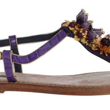 Purple Crocodile Crystal Sandals