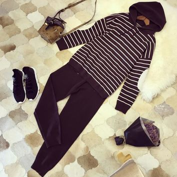 """Alexander McQueen"" Women Casual Fashion Knit Stripe Hooded Long Sleeve Sweater Trousers Set Two-Piece Sportswear"