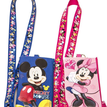 Disney Set of 2 Mickey and Minnie Mouse Lanyards with Detachable Coin Purse b...