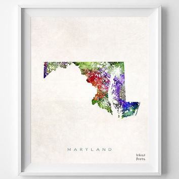 Maryland Map, Annapolis Poster, Painting, Watercolor, Nursery, Room, Home Town, Wall Art, USA, States, America, Wall Decor, Gift [NO 357]