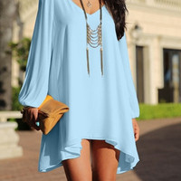Spring Summer V-Neck Long Sleeve Hollow Out Chiffon Mini Dress for Women = 1843135364