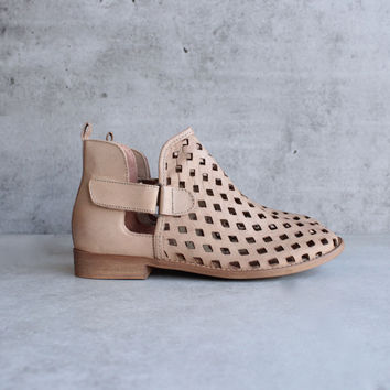 musse & cloud - caila taupe leather perforated festival ankle booties