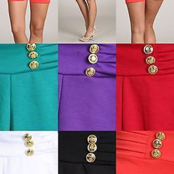 Sexy Solid Colors Casual Skinny Knit Short  StretchThick Waistband Pant