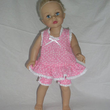 "Baby Doll Style Pajama Set for American Girl, Journey Girl, Madame Alexander and Similar 18"" Dolls, Pink Polka Dot"