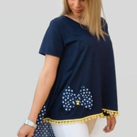 Blue Asymmetric women top /  one size loose top/ organic cotton women top /polka dots summer top / top with bow / short sleeves top