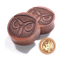Owl Face Engraved Wood Plugs