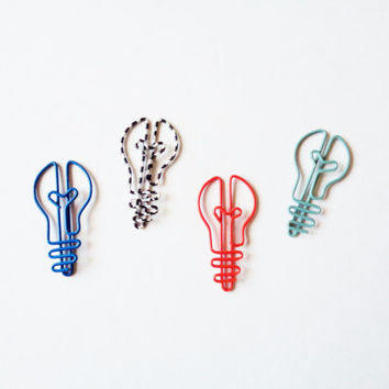 Light Bulb Paper Clips - Set of 4 Shaped Paper Clips - Red, Blue, Teal, and Black White Striped - Four Metal Bookmarks