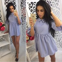 New Women Blue Striped Print Peter Pan Collar Sweet Mini Dress