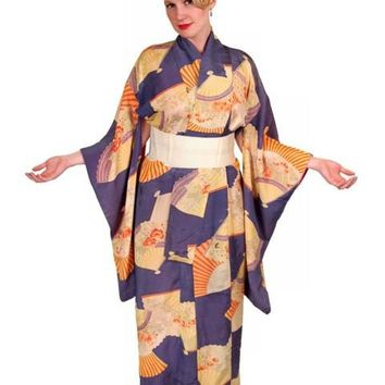 Vintage Silk Kimono w/ Fan Motif Dusty Periwinkle Peach 1920S One Size