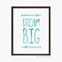 Watercolor Dream Big Quote Canvas Art Print painting Poster, Flower Wall Pictures for Home Decoration, Wall decor FA289