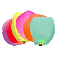 AGPtek® 12 Pack Fire Sky Lantern Flying Paper Wish Balloon Color Mix - Red/Green/Orange/Yellow/Pink/Purple