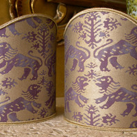 Pair of  Wall Sconce Clip-On Shield Shades Fortuny Fabric Richelieu in Purple & Gold Mini Lampshade - Handmade in Italy
