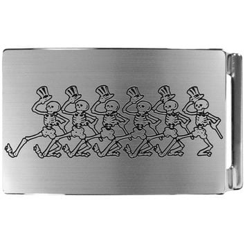 Grateful Dead - Dancing Skeletons Brushed Silver Belt Buckle