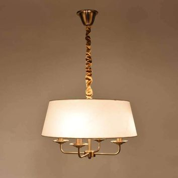 Copper-colored LED Morden Pendant light 4 Arms Chanderliar Fabrice shade ceiling light for Living Room Bedroom Dinning Room