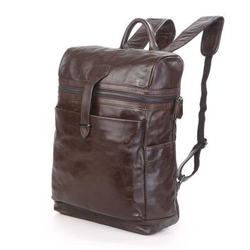 J.M.D High Quality Genuine Leather Unique Design Fashion Style Rucksack Coffee Color Backpack Large Capacity School Bag  7342Q