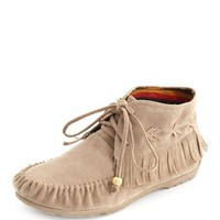 Sueded Fringe Moccasin Bootie: Charlotte Russe