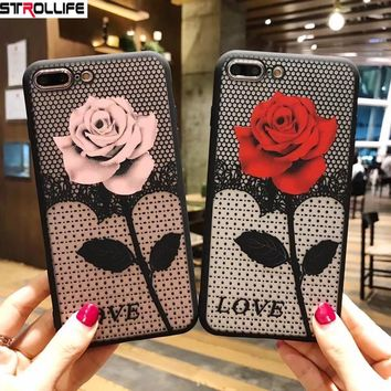 STROLLIFE Sexy Lace Floral Phone Cases For iPhone 7 7Plus 6 6s Capa Retro Rose Flower Hard shell Cover For iPhone 8 8Plus Coque