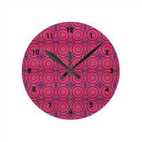 Fun Geometric Floral in Pink and Purple Round Clock