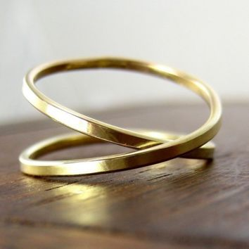 $243.00 Yellow Gold Infinity Ring 14K Yellow Gold sizes by seababejewelry