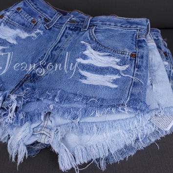 High waisted shorts Levi's distressed ripped frayed denim Hipster Grunge clothing Custom Made To Order
