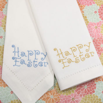 Happy Easter Curly Embroidered Cloth Napkins /Set of 4/ Easter cloth napkins, Easter napkins, Custom Easter, cutsom napkins, Easter gift