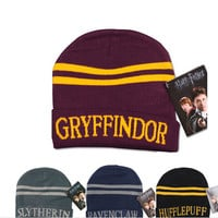 Harry Potter 4 Colors Hats Gryffindor Cap Slytherin Beanies Ravenclaw Skullies Winter Hat Free shipping 1pc