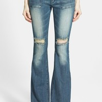 Junior Women's Lee Cooper 'Angie' Flare Jeans (Medium Wash)