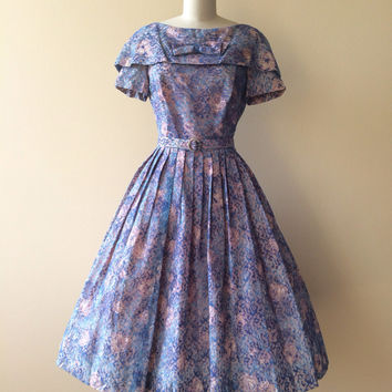 1950s Dress - Vintage 50s Dress - Painted Roses Chantilly Lace Garden Party Dress M - Hill Country
