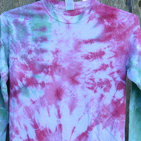 X-Large Blue Middle with Colorful Sleeves Long Sleeve Tie Dye Tee