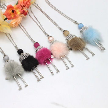6 Colors New Fashion Doll Necklace Winter Various Colors Wool Doll Key Chains Women Accessories Jewelry Female Gifts Hot NS417