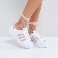 adidas White And Pink Superstar Bold Sole Trainer at asos.com