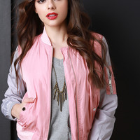 Two-Tone Windbreaker Bomber Jacket
