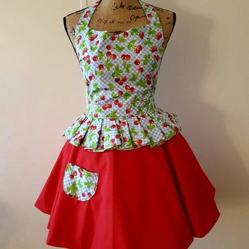 Cherries  - gingham  -  pinup-rockabilly-  50's housewife - style apron