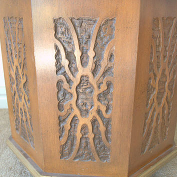 Carved Wood End Table with Capiz Shell Top,  Carved Wood Side Table, Retro 1960s Storage Drum Table