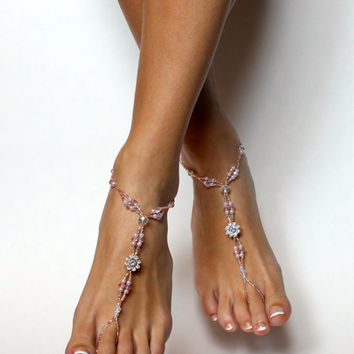 Champagne Barefoot Sandalls Bead Wedding Sandals Swarovski Crystal Foot Jewelry Sandals Beach Jewelry for your Wedding