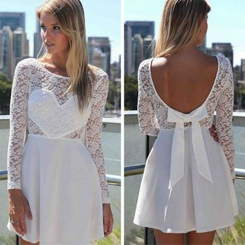 cute lace backless bow show body dress