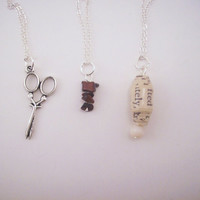 BFF rock/paper/scissors necklaces set for three friends. Friendship gifts. Silver toned. Everyday wear. Women's jewelry.