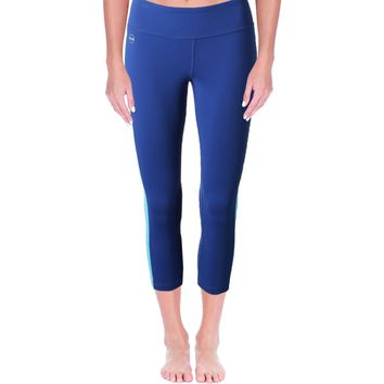 L-RL Lauren Active Womens Colorblocked Cropped Athletic Leggings