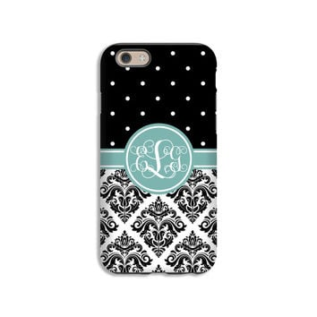 Black Damask Monogram iPhone SE case, iPhone 6s/6s Plus/6/6 Plus/5c/5s/5/4s/4, 3D iPhone cases, tough case, damask iPhone cover