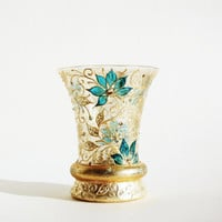 Hand Painted Glass Vase, Vntage Vase,Candle Holder, Gold and Turquoise, Swarovski Crystals