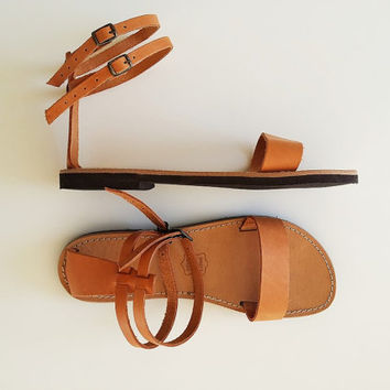 Women Open Toe Leather Sandals - Women Handmade Greek Sandals