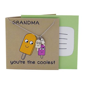 Icy Grandmother Necklace Funny Puns Gifts for Grandma, You're the Coolest