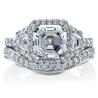 Asscher Cut Clear Cubic Zirconia CZ 925 Sterling Silver 2-Pc Halo Bridal Ring Set 3.01 Carat #vr014