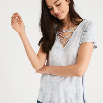 AE SOFT & SEXY SHORT SLEEVE LACE-UP T-SHIRT, Teal