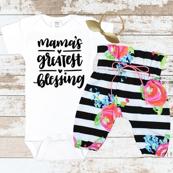 Momma's Greatest Blessing Striped Newborn Outfit