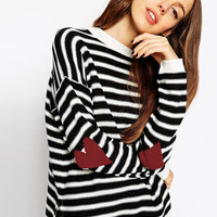 Black and White Heart Elbow Patch Striped Sweater